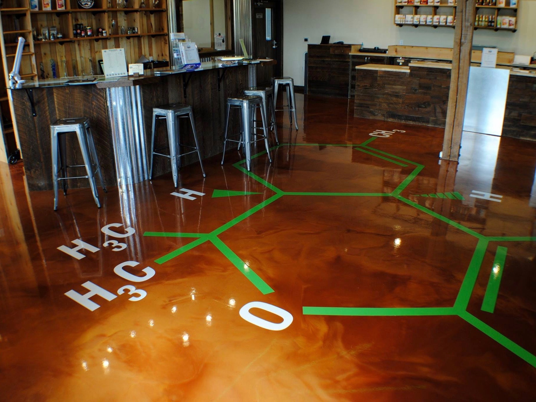 Cafe with chemistry design in flooring