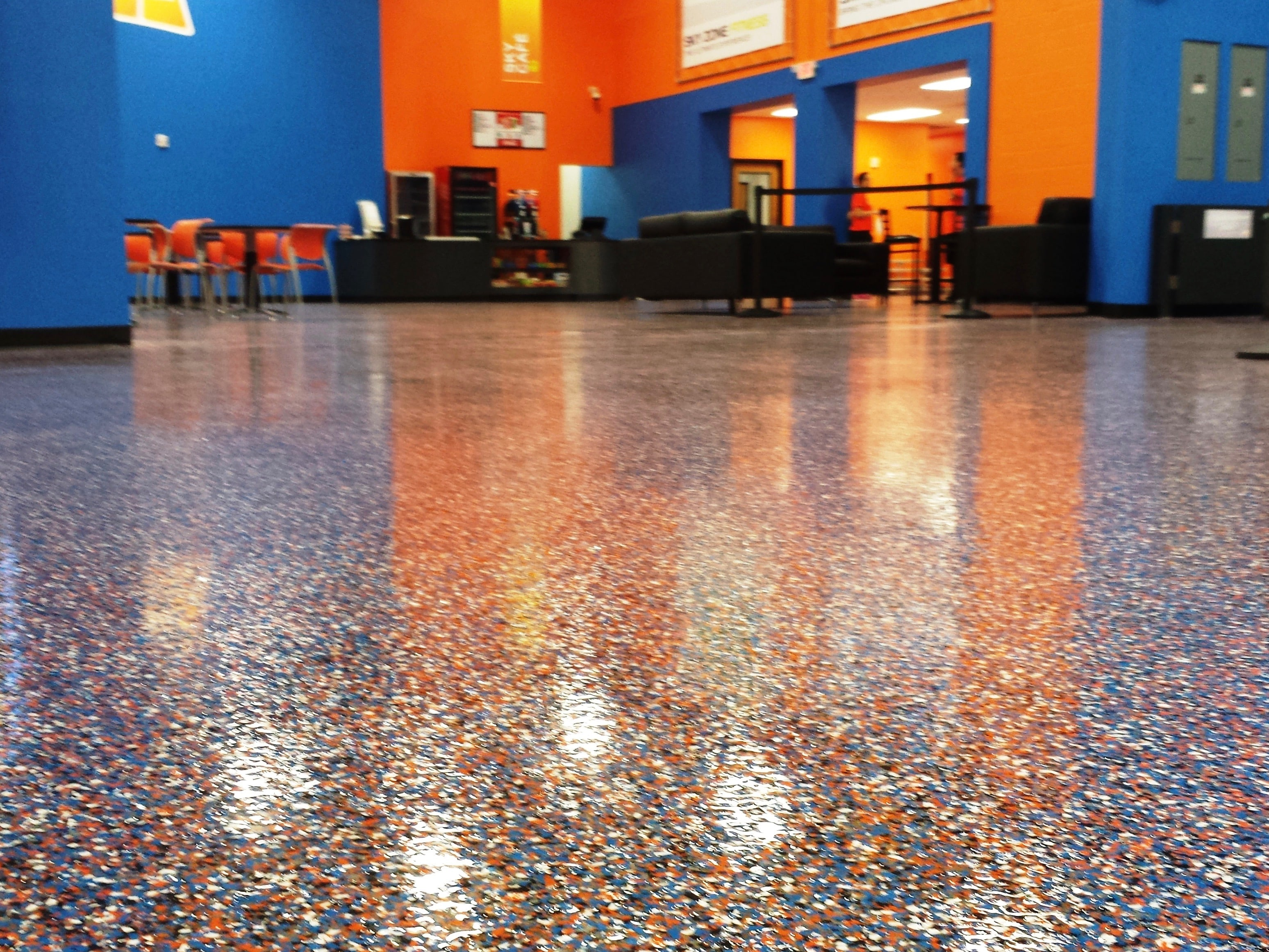 School cafeteria speckled flooring