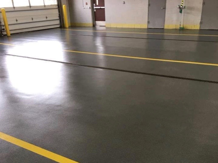 Two car garage with guiding lines on Hermetic Quartz Floors