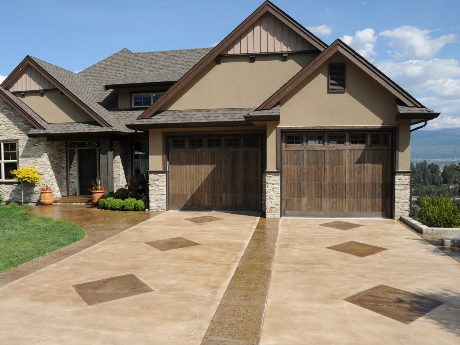 Stone driveway of large residential home